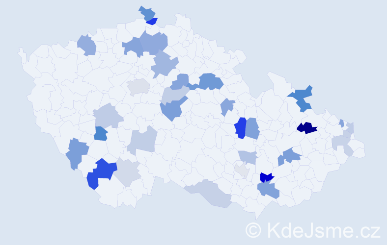 Příjmení: 'Čelková', počet výskytů 57 v celé ČR