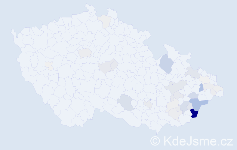 Příjmení: 'Bělašková', počet výskytů 151 v celé ČR