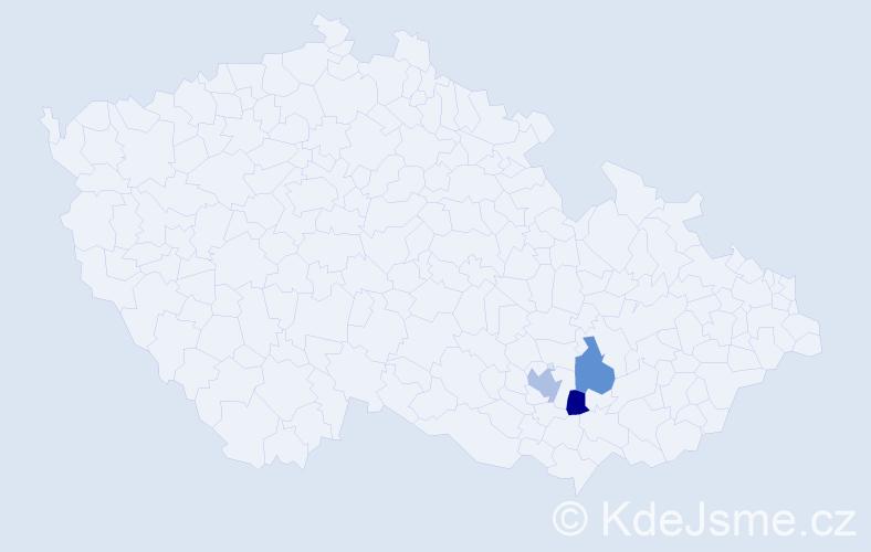 Příjmení: 'Manner', počet výskytů 7 v celé ČR