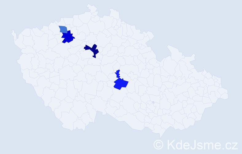 Příjmení: 'Hampejzová', počet výskytů 5 v celé ČR