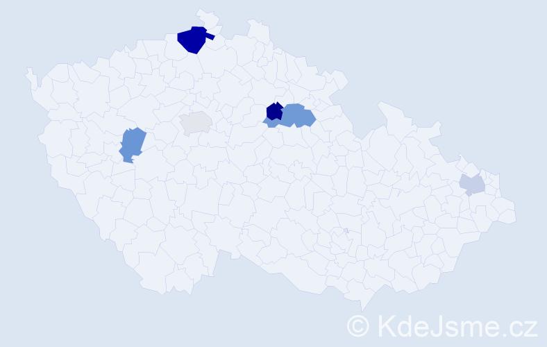 Příjmení: 'Bimonová', počet výskytů 10 v celé ČR