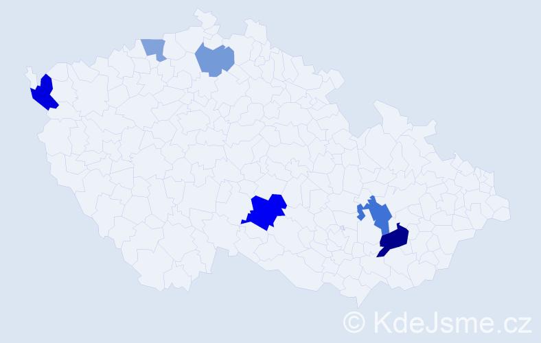 Příjmení: 'Ďurčáková', počet výskytů 12 v celé ČR