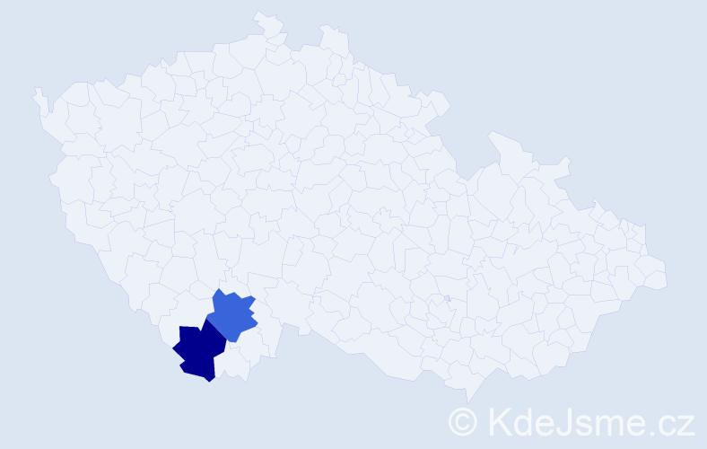 Příjmení: 'Kerschlager', počet výskytů 5 v celé ČR