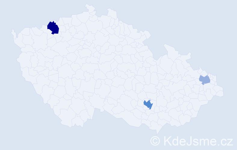 Příjmení: 'Ćosić', počet výskytů 6 v celé ČR