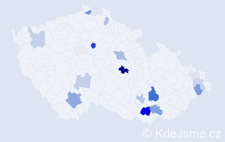 Příjmení: 'Kacer', počet výskytů 32 v celé ČR