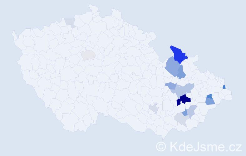 Příjmení: 'Děrdová', počet výskytů 49 v celé ČR