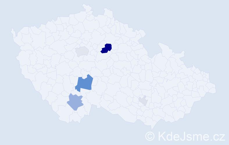 Příjmení: 'Ber', počet výskytů 11 v celé ČR