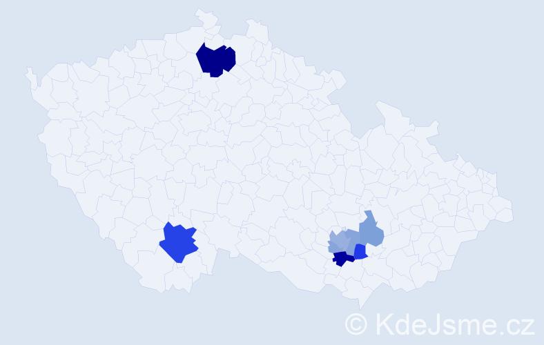 Příjmení: 'Jerson', počet výskytů 18 v celé ČR