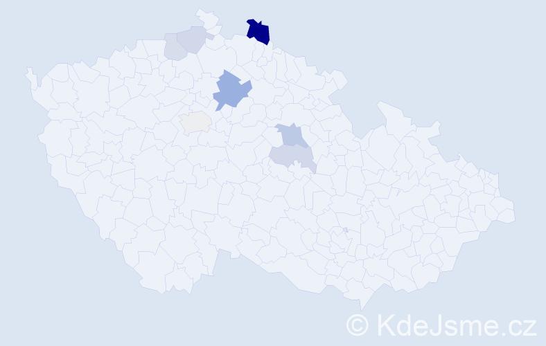 Příjmení: 'Kira', počet výskytů 14 v celé ČR