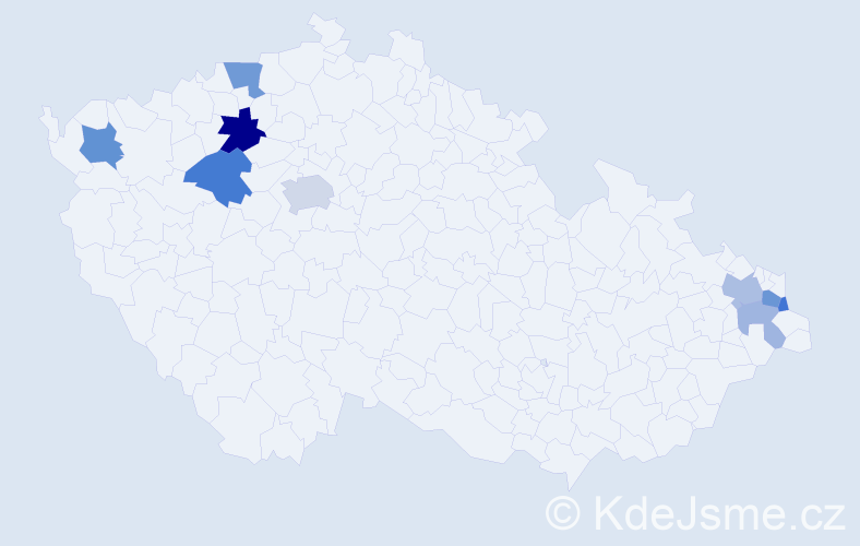 Příjmení: 'Bárt', počet výskytů 18 v celé ČR