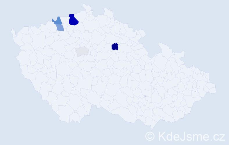 Příjmení: 'Badeová', počet výskytů 9 v celé ČR