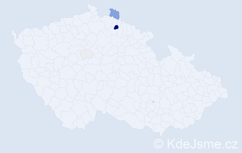 Příjmení: 'Hanšpachová', počet výskytů 9 v celé ČR