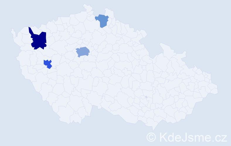 Příjmení: 'Kohušová', počet výskytů 9 v celé ČR