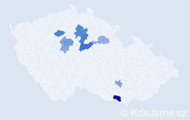 Příjmení: 'Chen', počet výskytů 23 v celé ČR