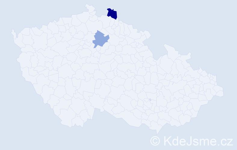 Příjmení: 'Faciník', počet výskytů 5 v celé ČR