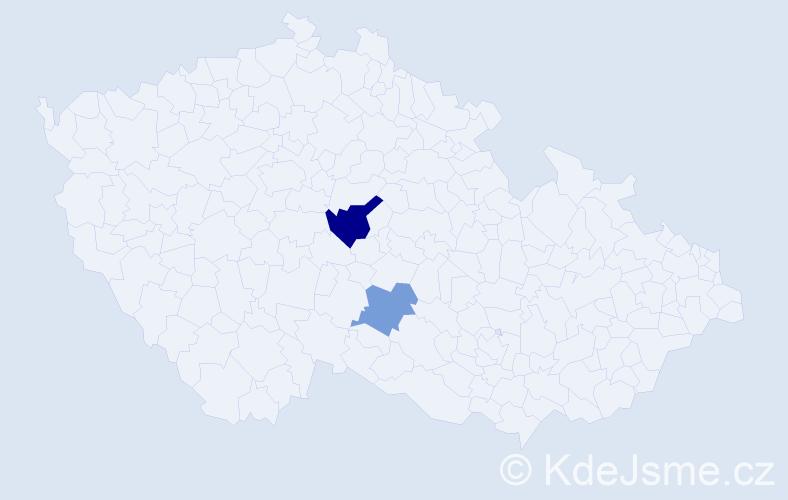 Příjmení: 'Hnativ', počet výskytů 3 v celé ČR