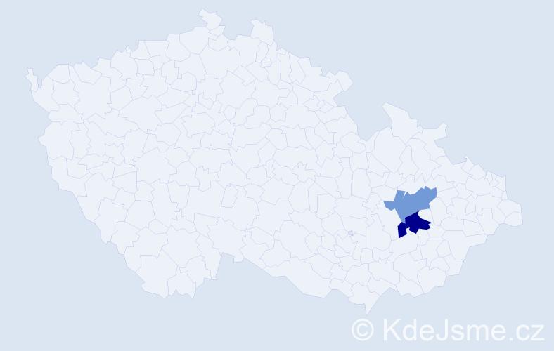 Příjmení: 'Klánichová', počet výskytů 3 v celé ČR