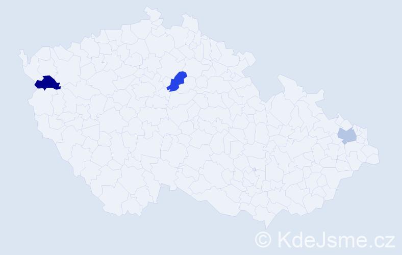 Příjmení: 'Aka', počet výskytů 6 v celé ČR