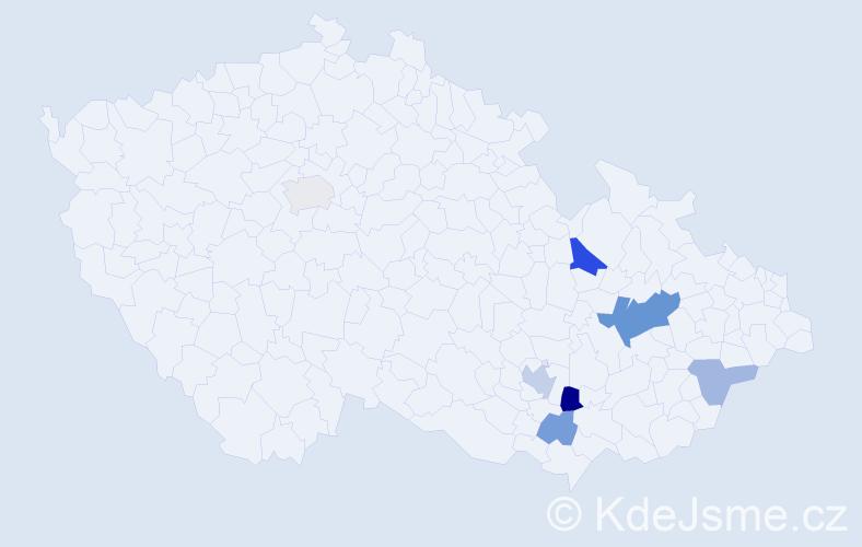 Příjmení: 'Gehr', počet výskytů 13 v celé ČR