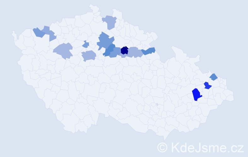 Příjmení: 'Dőme', počet výskytů 37 v celé ČR