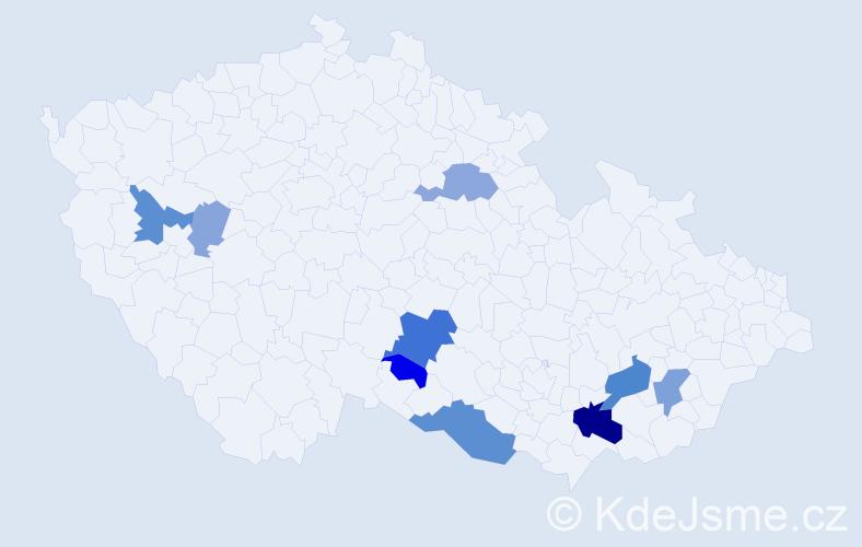 Příjmení: 'Bakajová', počet výskytů 23 v celé ČR