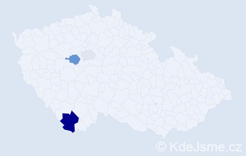 Příjmení: 'Gráfek', počet výskytů 4 v celé ČR