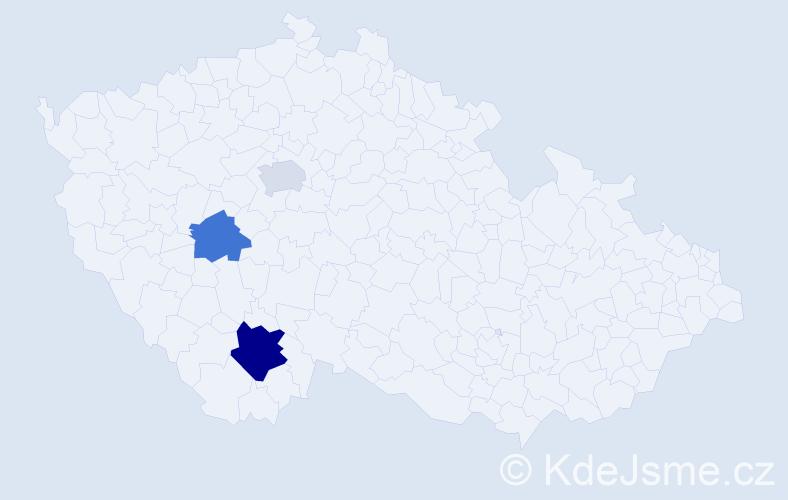 Příjmení: 'Hadtová', počet výskytů 5 v celé ČR