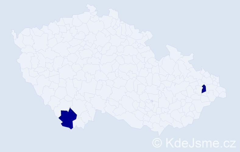 Příjmení: 'Hrablík', počet výskytů 2 v celé ČR