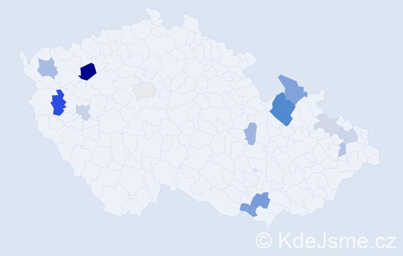 Příjmení: 'Jankov', počet výskytů 28 v celé ČR