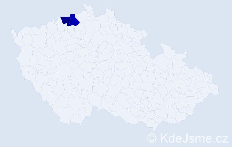 Příjmení: 'Čačaná', počet výskytů 2 v celé ČR