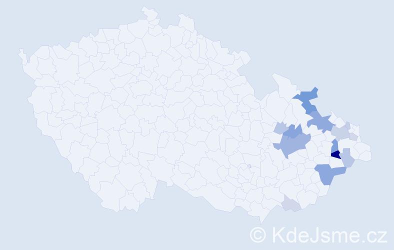 Příjmení: 'Kaděrková', počet výskytů 48 v celé ČR