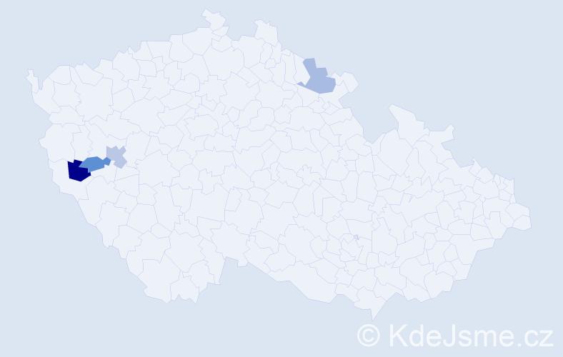 Příjmení: 'Királ', počet výskytů 10 v celé ČR