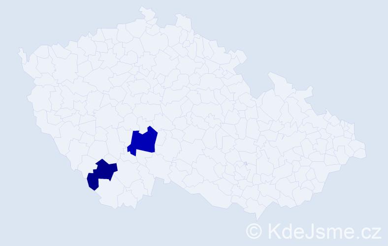 Příjmení: 'Gubrický', počet výskytů 6 v celé ČR