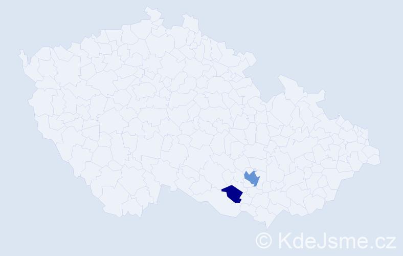 Příjmení: 'Kamoj', počet výskytů 5 v celé ČR