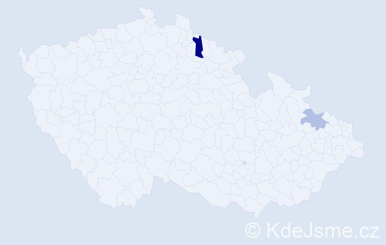 Příjmení: 'Hansková', počet výskytů 3 v celé ČR