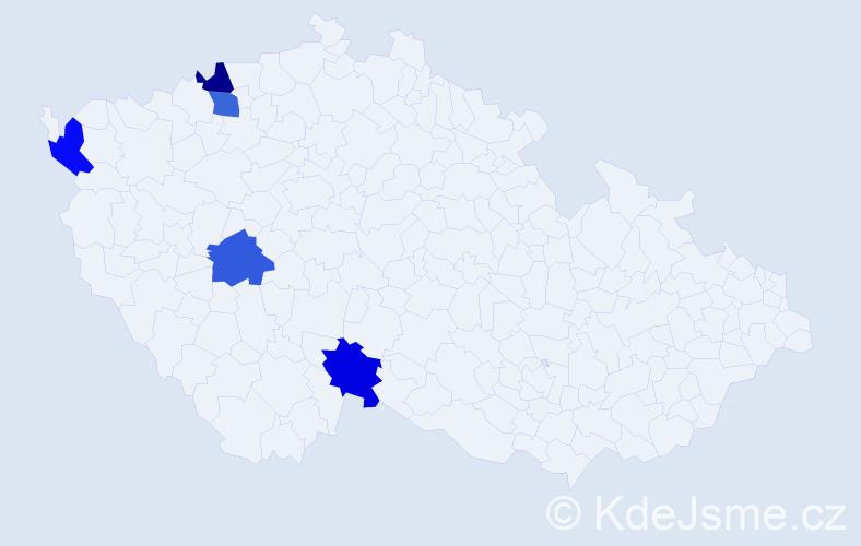 Příjmení: 'Ďuková', počet výskytů 5 v celé ČR