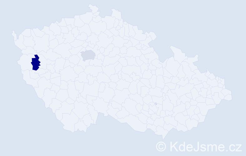 Příjmení: 'Gatev', počet výskytů 6 v celé ČR