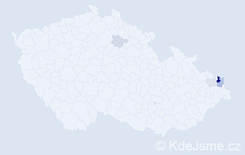 Příjmení: 'Kaloková', počet výskytů 52 v celé ČR