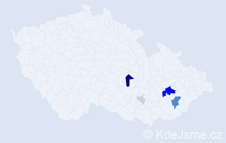 Příjmení: 'Evanžinová', počet výskytů 7 v celé ČR