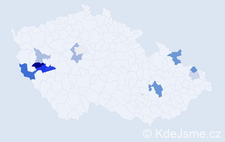 Příjmení: 'Ircing', počet výskytů 23 v celé ČR
