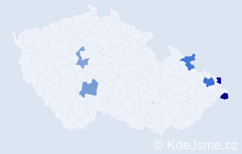 Příjmení: 'Hederová', počet výskytů 12 v celé ČR