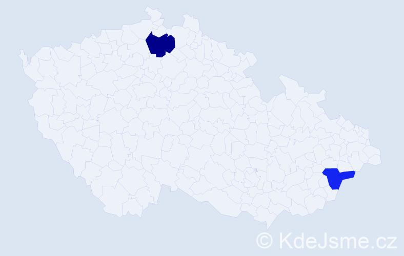 Příjmení: 'Jabrane', počet výskytů 5 v celé ČR