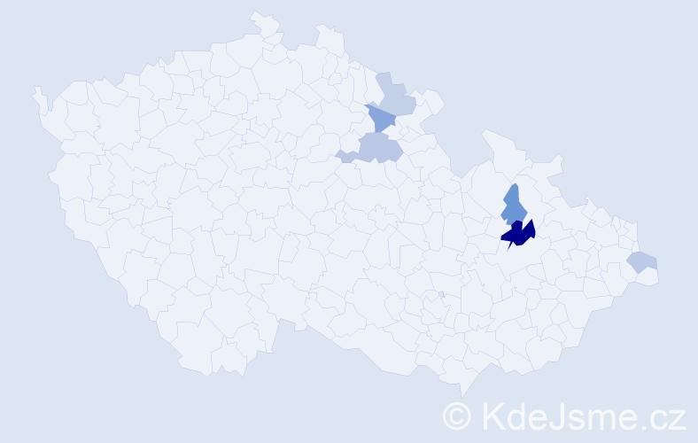 Příjmení: 'Čipel', počet výskytů 10 v celé ČR