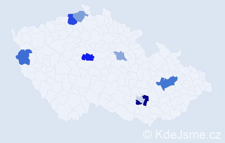 Příjmení: 'Laníčková', počet výskytů 15 v celé ČR
