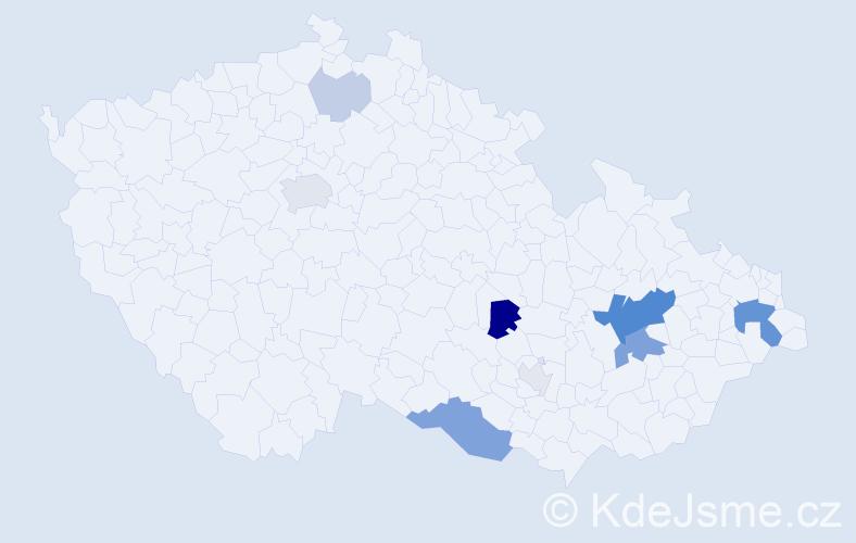 Příjmení: 'Lahnerová', počet výskytů 27 v celé ČR