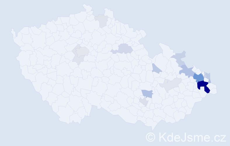 Příjmení: 'Golka', počet výskytů 68 v celé ČR