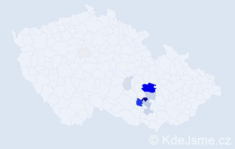 Příjmení: 'Kšica', počet výskytů 52 v celé ČR