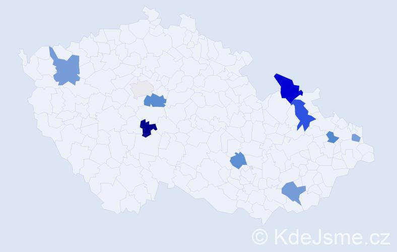 Příjmení: 'Fečíková', počet výskytů 17 v celé ČR