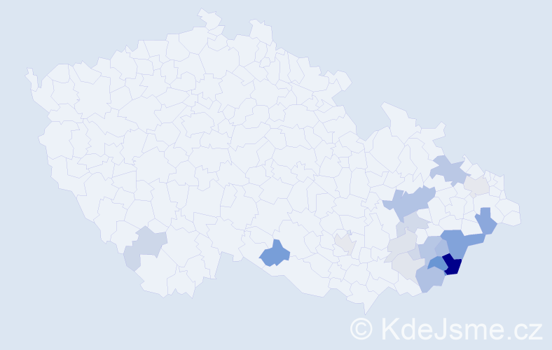Příjmení: 'Ambrůz', počet výskytů 53 v celé ČR