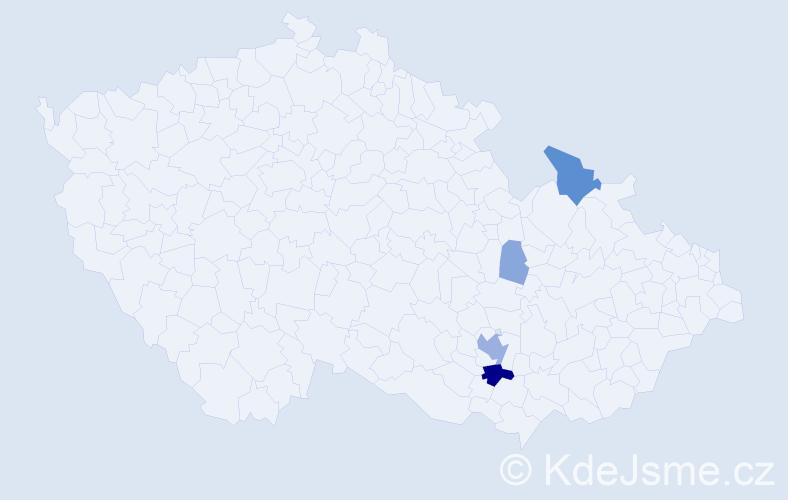 Příjmení: 'Knoz', počet výskytů 16 v celé ČR